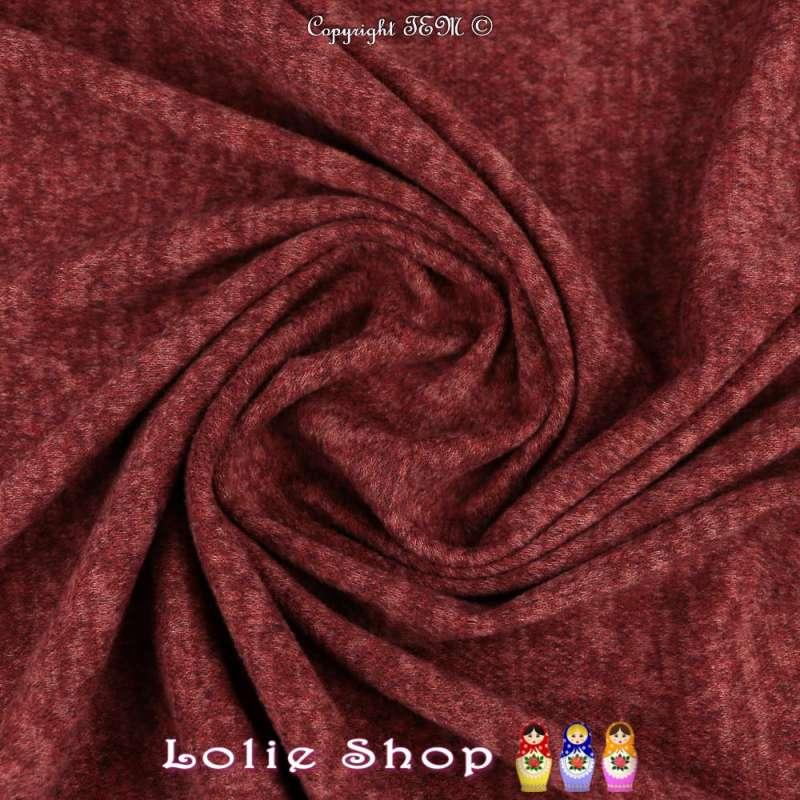 Jersey Sweat Chiné Gamme BLOOM Couleur Bordeaux