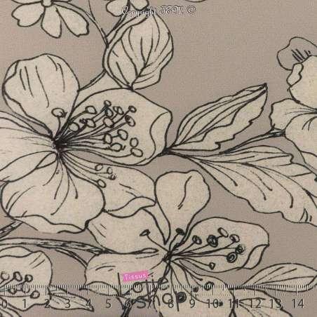 Microfibre Élasthanne Motif Fleur Fond Gris Clair