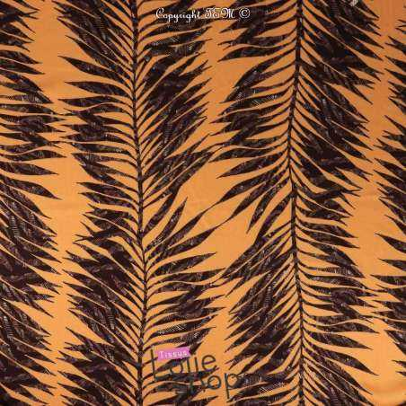 Crêpe Viscose Imprimé Feuilles De Palmiers Fond Orange