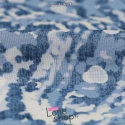 Tissu Viscose Imprimé Paisley Ton Bleu Blanc