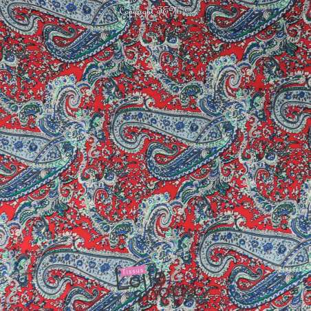 Tissu Viscose Imprimé Paisley Fond Rouge