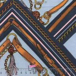 Tissu Viscose Imprimé Façon Foulards Chaines Fond Bleu