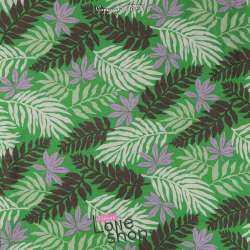 Tissu Viscose Vert Imprimé Feuilles