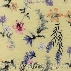 Tissu Viscose Imprimé Fleurs Fond Jaune