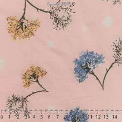 Tissu Viscose Imprimé Fleurs Fond Rose à Pois Blancs