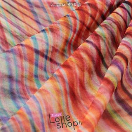 Tissu Crêpe Georgette Ligne Graphique Multicolores