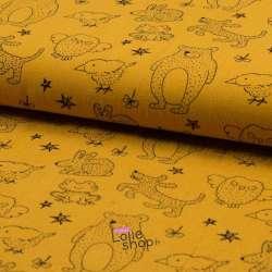 Toile de Coton Jenny Imprimé Animaux Ocre