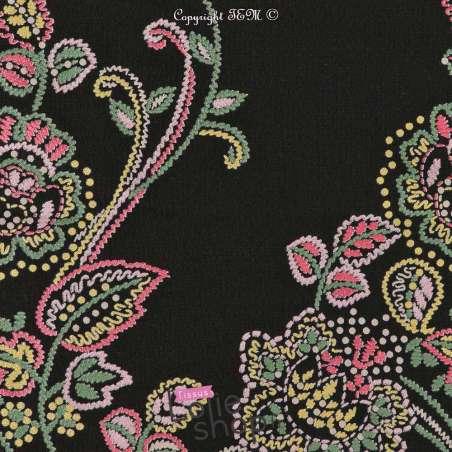 Microfibre Motif Fleurs Double Bases Fond Noir