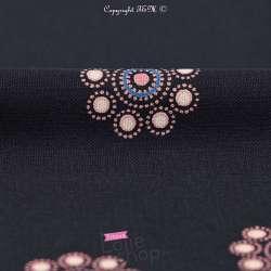 Microfibre Motif Cercles Tons Rose Fond Bleu Marine
