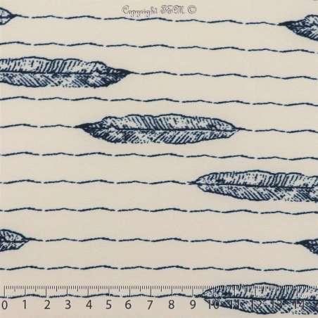 Microfibre Motif Feuilles Bleus Fond Blanc