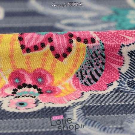 Microfibre Motif Fleurs Fond Imitation Jean Brut