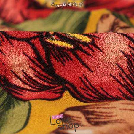 Crêpe Viscose Imprimé Fleurs Rouge/Marron Fond Ocre