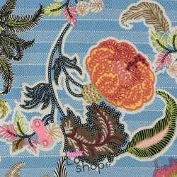 Microfibre Motif Fleurs Fond Imitation Jean Bleu Clair