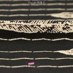 Microfibre Motif Feuilles Ecrus Fond Noir