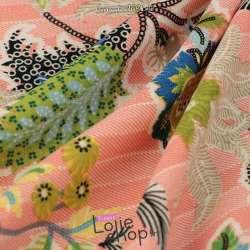 Microfibre Motif Fleurs Fond Imitation Jean Rose