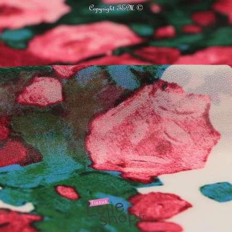 Tissu Crêpe Georgette Blanc Motif Bouquet De Roses