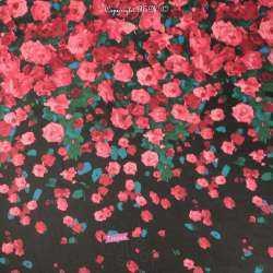 Tissu Crêpe Georgette Noir Motif Bouquet De Roses