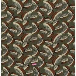 Tissu Crêpe Viscose Imprimé Style Wax Fond Kaki