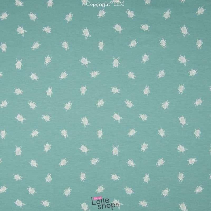 Jersey Coton Imprimé Scarabées Blanc Fond Vert d'Eau
