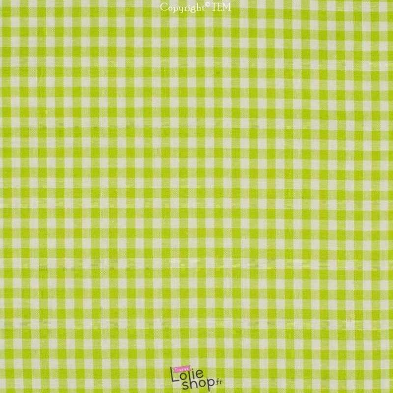 Coton Vichy 5mm Vert Pomme