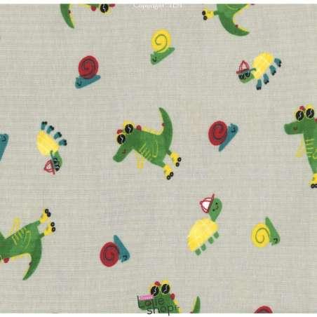 Jersey Coton Imprimé Crocodile Fond Beige