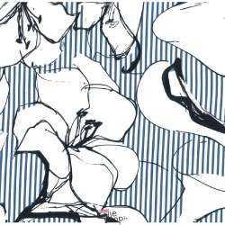 Tissu Viscose Rayé Bleu/Blanc Imprimé Fleurs Blanches