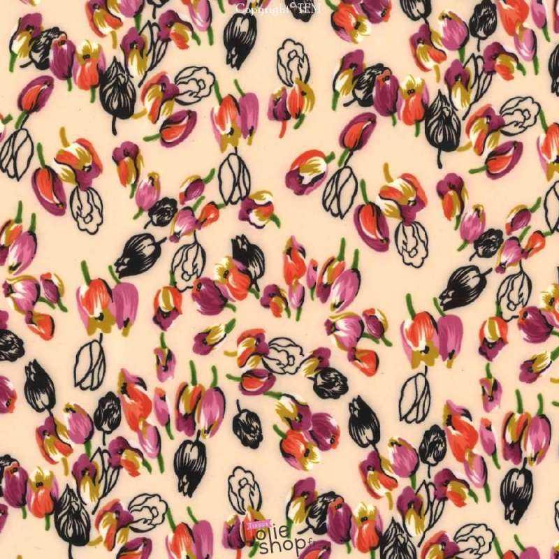 Microfibre Élasthanne Imprimé Tulipes Fond Rose Pale