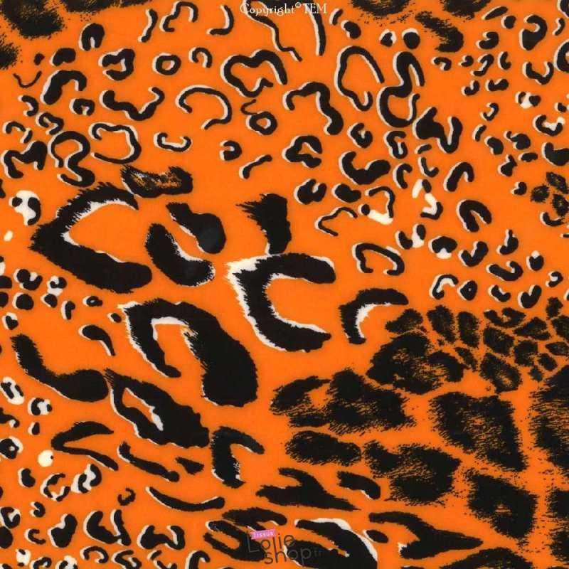 Microfibre Élasthanne Imprimé Panthère Fond Orange