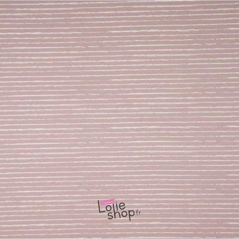 Popeline Coton STRIP Imprimé Lignes Difformes Dusty