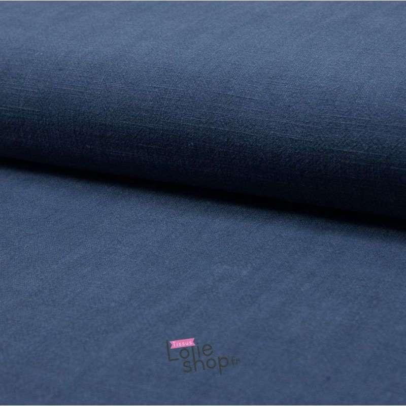 """Tissu Lin Lavé """"Stonewashed"""" , 100% Lin  Couleur : Blue Jeans"""