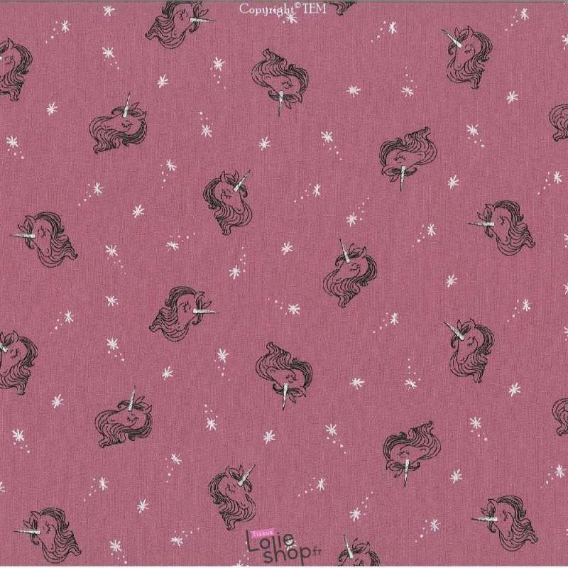 Toile de Coton Jenny Imprimé Licorne Rose