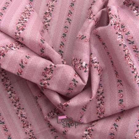 Toile de Coton Imprimé Roseraie Fond Vieux Rose