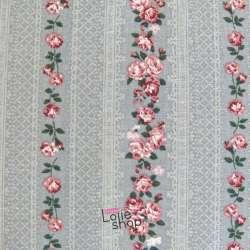 Toile de Coton Imprimé Roseraie Fond Gris