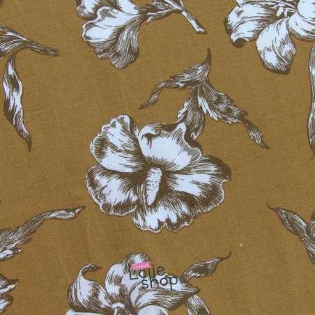 Tissu Viscose/Lin Imprimé Lys Fond Moutarde