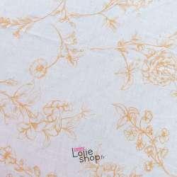 Tissu Viscose/Lin Imprimé Tiges de Fleurs Orange Fond Ecru