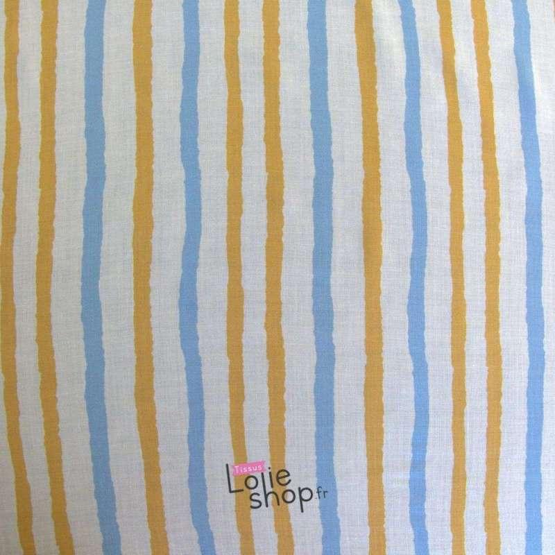 Tissu Viscose Rayures Ocre et Bleu Fond Blanc