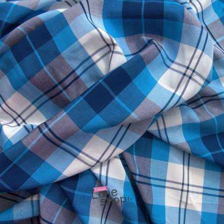 Tissu Viscose Imprimé Carreaux Bleu