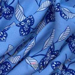 Crêpe Viscose Imprimé Feuilles Sculptées Fond Bleu