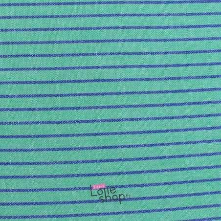 Toile de Coton Rayures Bleues Fond Vert