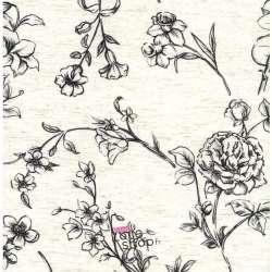 Tissu Viscose/Lin Imprimé Tiges de Fleurs Noir Fond Ecru