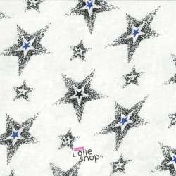 Tissu Viscose Imprimé Etoiles Bleues et Noires Fond Gris Clair