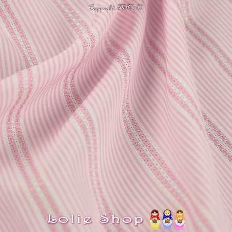 Jacquard Coton Imprimé Rayure Couleur Rose