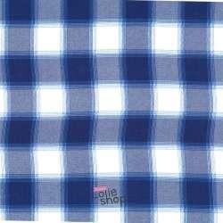 Tissu Viscose Imprimé Carreaux Bleu Et Blanc