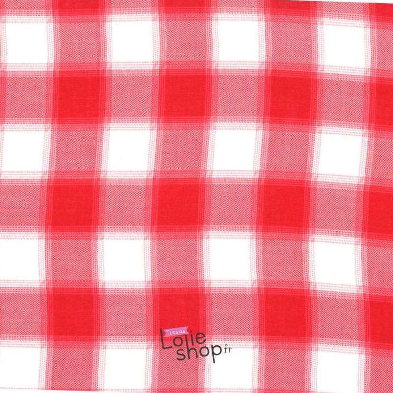 Tissu Viscose Imprimé Carreaux Rouge Et Blanc
