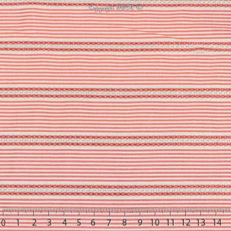 Jacquard Coton Imprimé Rayure Couleur Rouge