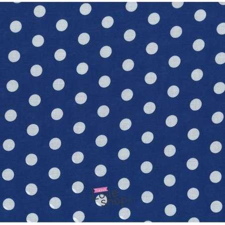 Tissu Viscose Pois Moyen Fond Bleu Roi