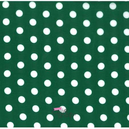 Tissu Viscose Pois Moyen Fond Vert