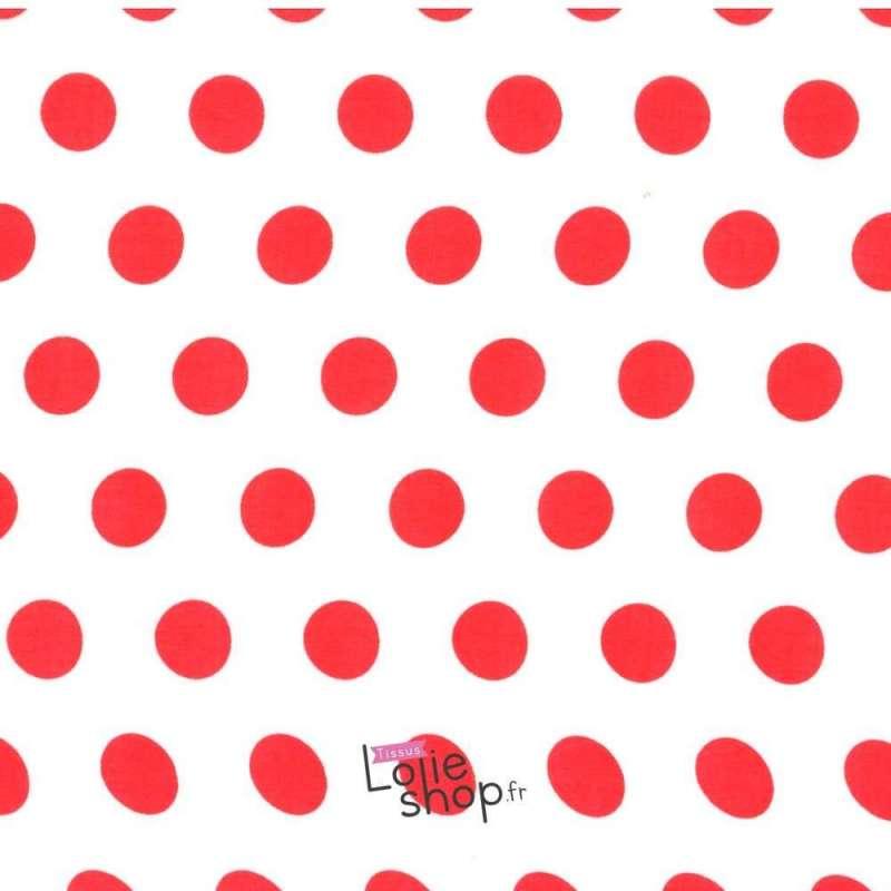 Tissu Viscose Gros Pois Rouge Fond Blanc