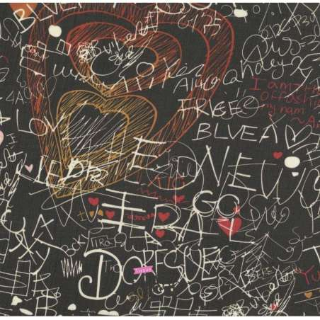 Tissu Crêpe Motif Graffiti Fond Noir