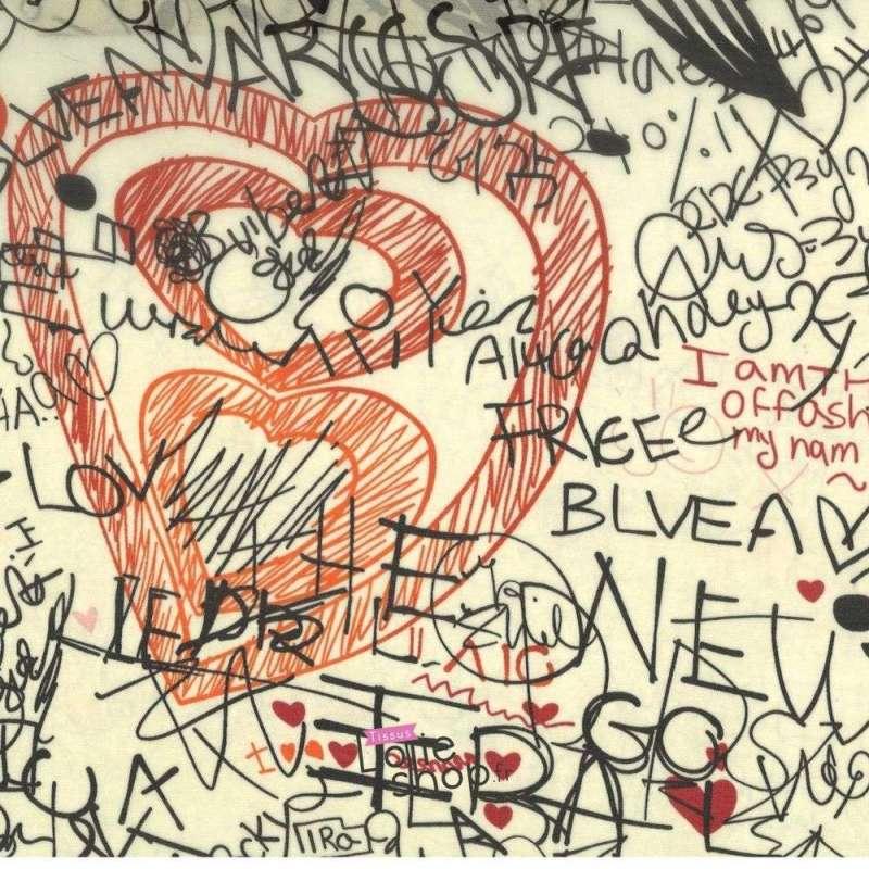 Tissu Crêpe Motif Graffiti Fond Crème